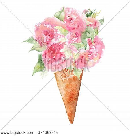 Watercolor Flower Bouquet Peony Tea Rose Ice-cream Waffle Sweet Dessert Isolated