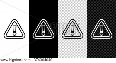 Set Line Exclamation Mark In Triangle Icon Isolated On Black And White Background. Hazard Warning Si
