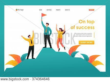 Team Entrepreneurs Celebrates Victory On Top Of Success. Flat 2d Character. Landing Page Concepts An
