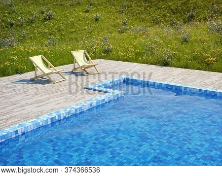 Swimming pool with wooden floor and deck chairs in meadow with flowers, 3D illustration, rendering.