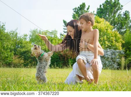 happy family with dog during quarantine