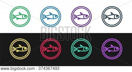 Set Line Served Fish On A Plate Icon Isolated On Black And White Background. Vector.