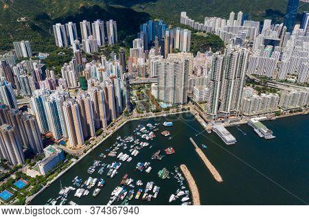 Sai Wan Ho, Hong Kong 23 June 2020: Top view of Hong Kong city