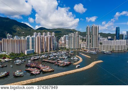Sai Wan Ho, Hong Kong 20 June 2020: Aerial view of Hong Kong city