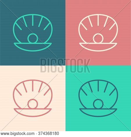 Pop Art Line Natural Open Shell With Pearl Icon Isolated On Color Background. Scallop Sea Shell. Sea