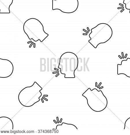 Grey Line Man Coughing Icon Isolated Seamless Pattern On White Background. Viral Infection, Influenz
