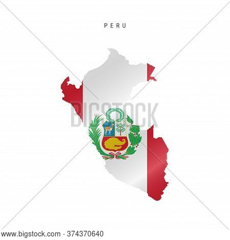 Detailed Waving Flag Map Of Peru. Vector Map With Masked Flag.