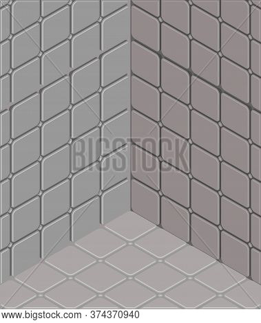 Nuthouse Soft Walls Background. Lunatic Asylum Vector Illustration