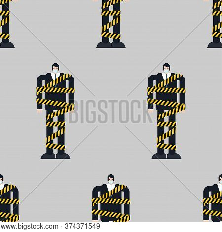 Man On Self-isolation Pattern Seamless. Social Distance Background. Guy In Protective Mask Wrapped I
