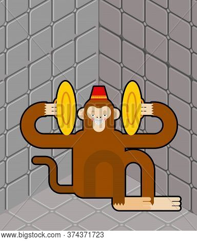 Crazy Monkey In Nuthouse. Mad Chimpanzees In Lunatic Asylum