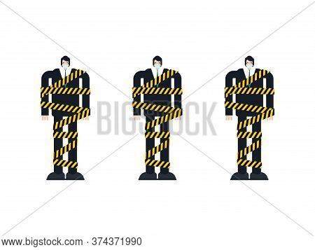 Man On Self-isolation. Guy In Protective Mask Wrapped In Yellow Tape. Attention Is Infected. Coronav