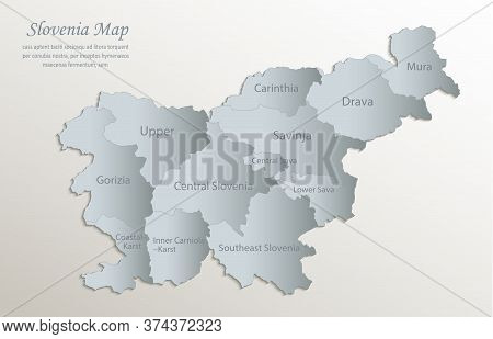 Slovenia Map, Administrative Division With Names, White Blue Card Paper 3d Vector