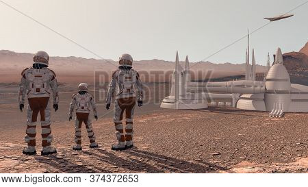Family Colonists Immigrants To Mars, A Man, A Woman And A Child Admire The Martian Landscape, The Ci