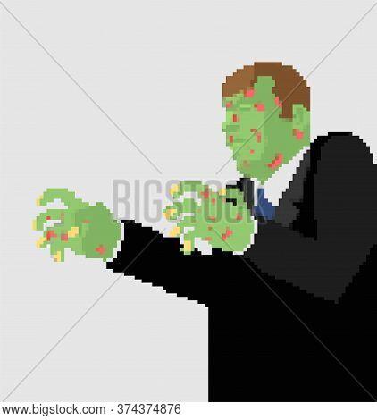 Zombie Pixel Art. 8 Bit Green Dead Man Vector Illustration