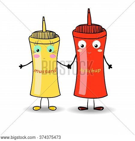 Mustard And Ketchup Illustration For Fastfood Places. Vector