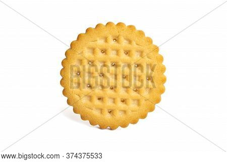 Cookies Round Shortbread Isolated On White Background