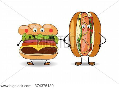 Hot Dog With Hamburger, Burger, Cheeseburger Illustration For Fastfood Places. Vector
