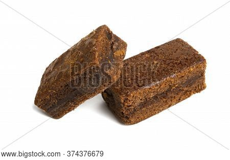 Brownie Chocolate Cake Isolated On White Background
