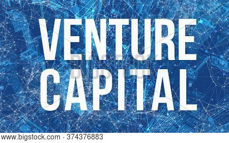 Venture Capital Theme With Abstract Network Patterns And Skyscrapers