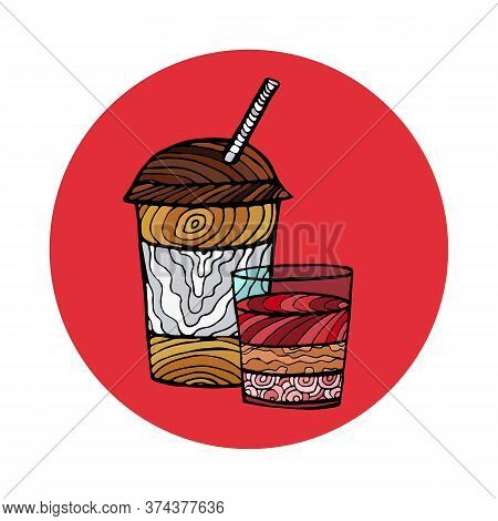 Illustration Of A Coffee Or Tea And Panna Cotta. For Greeting Cards And Backgrounds. Vector