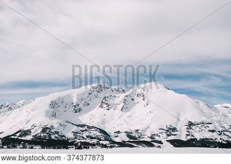 Snow-covered Mountain Peaks In Zabljak Are Durmitor National Park In Montenegro.
