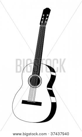 guitar drawing on white background