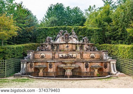 Versailles, France - August 27, 2019 : Grand Trianon Fountain Named Water Buffet. The Grand Trianon