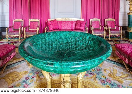 Versailles, France - August 27, 2019 : The Malachite Room Of Grand Trianon Palace, Domain Of Versail