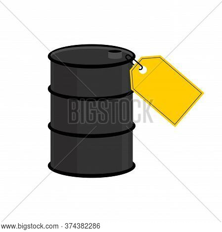 Barrel Oil Blank Yellow Price Tag. Discount Price Reduction. Oil Price Decline. Cutting Prices Illus