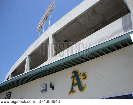 Oakland - June 10, 2010: As Logo On Oakland Coliseum Stadium During The Day.
