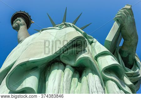 The Statue of Liberty from below on Liberty Island, New York, New York, USA.