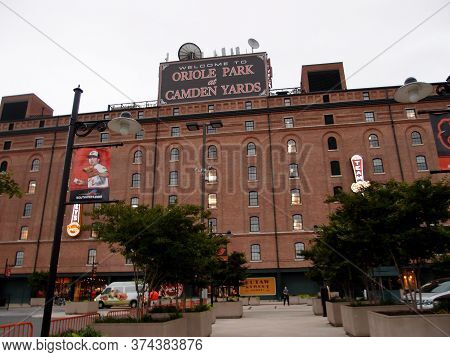 Baltimore - June 11, 2014: Welcome To Oriole Park At Camden Yards Sign Atop Ballpark During Baseball