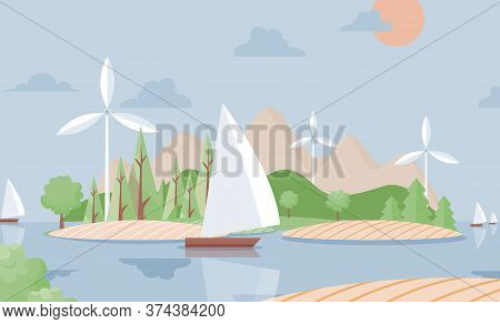 Summer Nature Landscape With Ship Vector Flat Illustration. Travel, Adventure Background. Hills, Sai