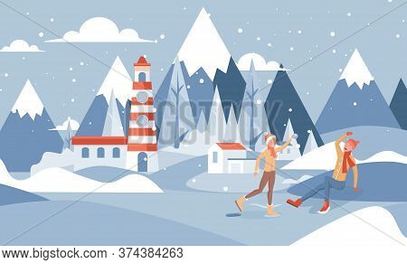 Winter Landscape Vector Flat Illustration. Happy Smiling Boy And Girl In Warm Clothes Playing Snowba