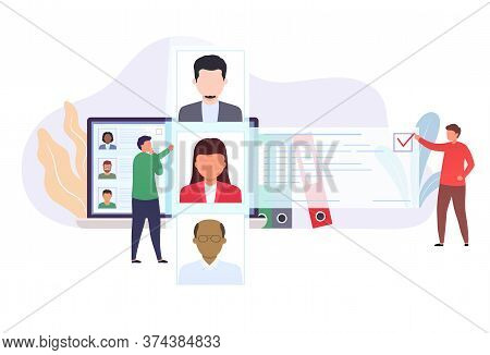 Recruitment Of Hiring Staff. Office Workers Are Looking At The List Of Job Seekers. Concept Choice W