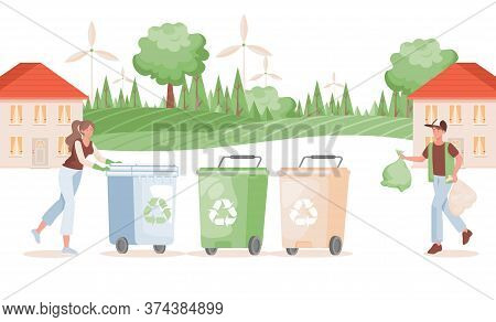 Man And Woman Putting Garbage In Containers Vector Flat Illustration. Sorting And Recycling Waste Co