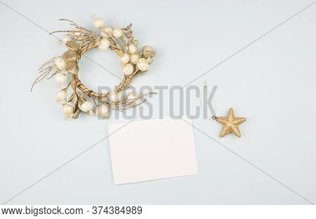 Flatlay Christmas. Holiday Christmas Background. New Year's And Christmas. Christmas Card Background