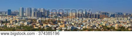 Hyderabad, INDIA - December 16 : Super panoramic view of Hyderabad city, sixth most populous urban agglomeration in India, on December 16,2015 Hyderabad, India