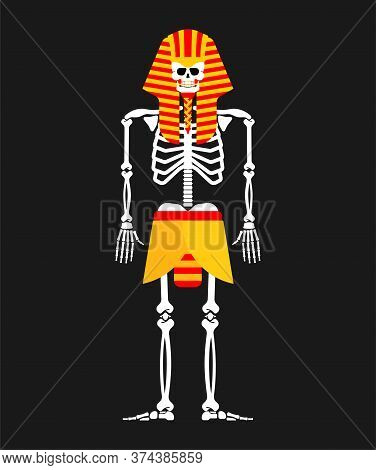 Pharaoh Skeleton Isolated. King In Ancient Egypt