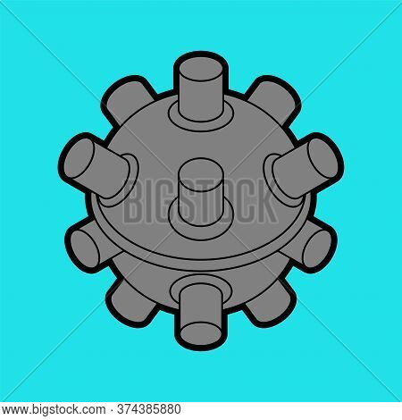 Naval Mine Isolated. Underwater Bomb. Vector Illustration