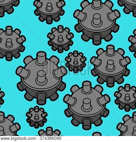 Naval Mine Pattern Seamless. Underwater Bomb Background. Vector Texture