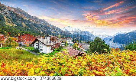 Stunning Autumn View Of Picturesque Alpine Village Wengen With Jungfrau Mountain And Lauterbrunnen V