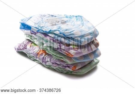 Baby Diaper Disposable Isolated On White Background