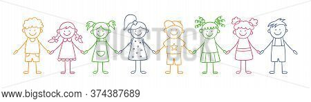 Group Of Funny Kids Holding Hands. Friendship Concept. Happy Cute Doodle Children. Isolated Color Ve