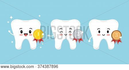 Teeth With Medal Golden, Silver, Bronze With Laurel Branches And Red Ribbon Isolated On White Backgr
