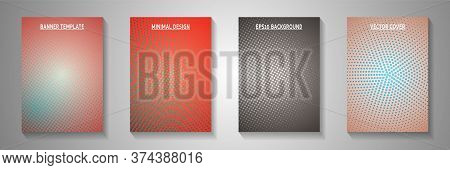 Dynamic Dot Screen Tone Gradation Front Page Templates Vector Kit. Industrial Brochure Faded Screen