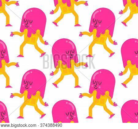 Ice Cream Run Cartoon Pattern Seamless. Icecream Background. Vector Ornament. Baby Fabric Texture