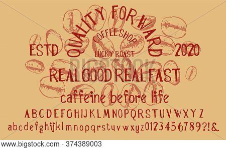 Font Alphabet Script Typeface Handcrafted Handwritten Vector Label Design Old Style.shadow Effect.vi