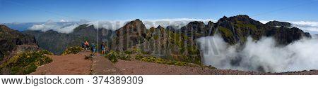 Pico Do Arieiro, Maderia, Portugal - June 25, 2019  : Panorama Tourists At The Top Of Pico Do Arieir