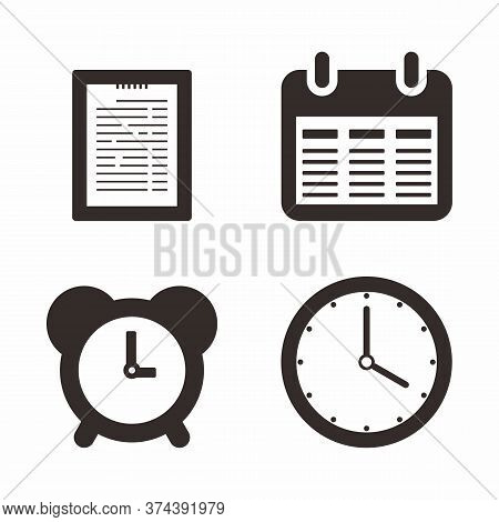 Calendar With Clock Thin Line Icon. Agenda, Reminder, Time, Date Isolated Outline Sign. Time Managem